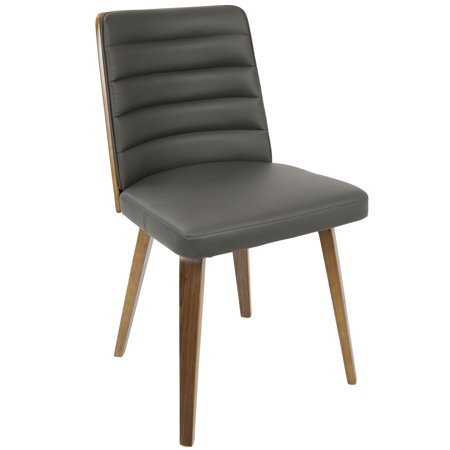 Francesca Mid Century Modern Dining Accent Chair In Walnut Wood And Grey Faux Leather By Lumisource