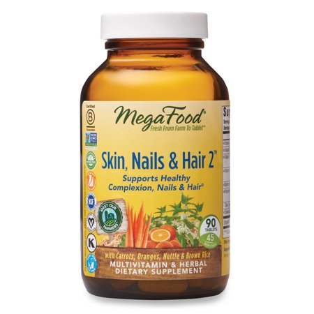 MegaFood, Skin, Nails & Hair 2, Supports Healthy Complexion, Nails & Hair, Multivitamin & Herbal Dietary Supplement, Gluten Free, Vegan, 90 tablets (45