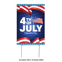 """4th of July Yard Sign, Weather Resistant Plastic, 23"""" x 16"""", Stakes Included"""