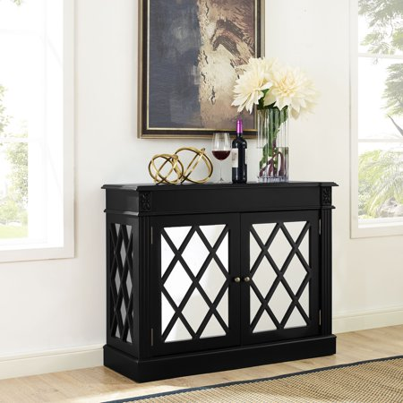 RIALTO MIRRORED ACCENT TABLE IN DISTRESSED BLACK Brass Leather Accent Table