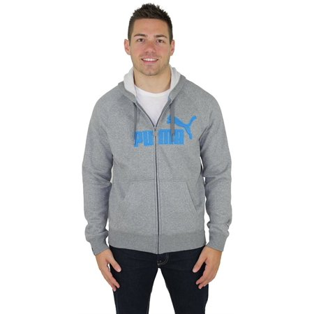 Puma Mens #1 Logo Hoody Zip Sweatshirt/Sweater, Medium Gray Heather, Small