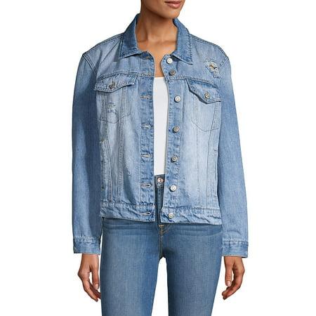 Kensie Cotton Jacket (Off Duty Distressed Oversized-Fit Denim Jacket )