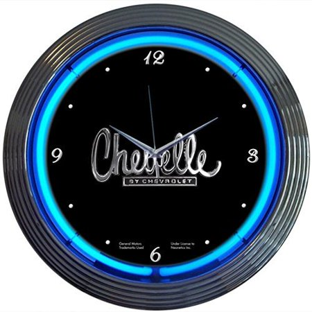Chevrolet Chevy Chevelle Genuine Electric Neon 15 Inch Wall Clock Glass Face Chrome Finish USA (General Chevrolet Neon Clock)
