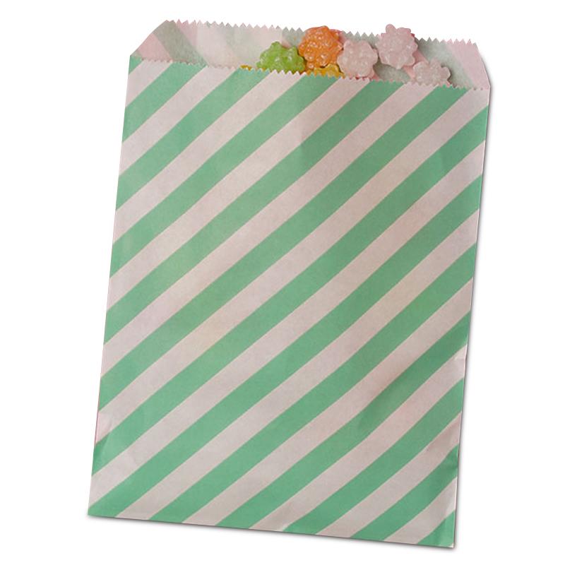 25ea - 8-1/2 X 11 Teal Diagonal Stripe Merchandise Bag-Pk by Paper Mart