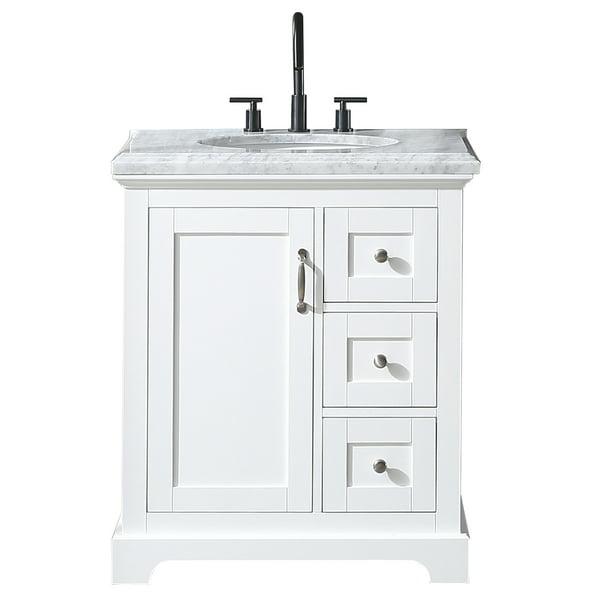 Eviva Houston 30 In White Bathroom Vanity With White Carrara Marble Countertop Walmart Com Walmart Com