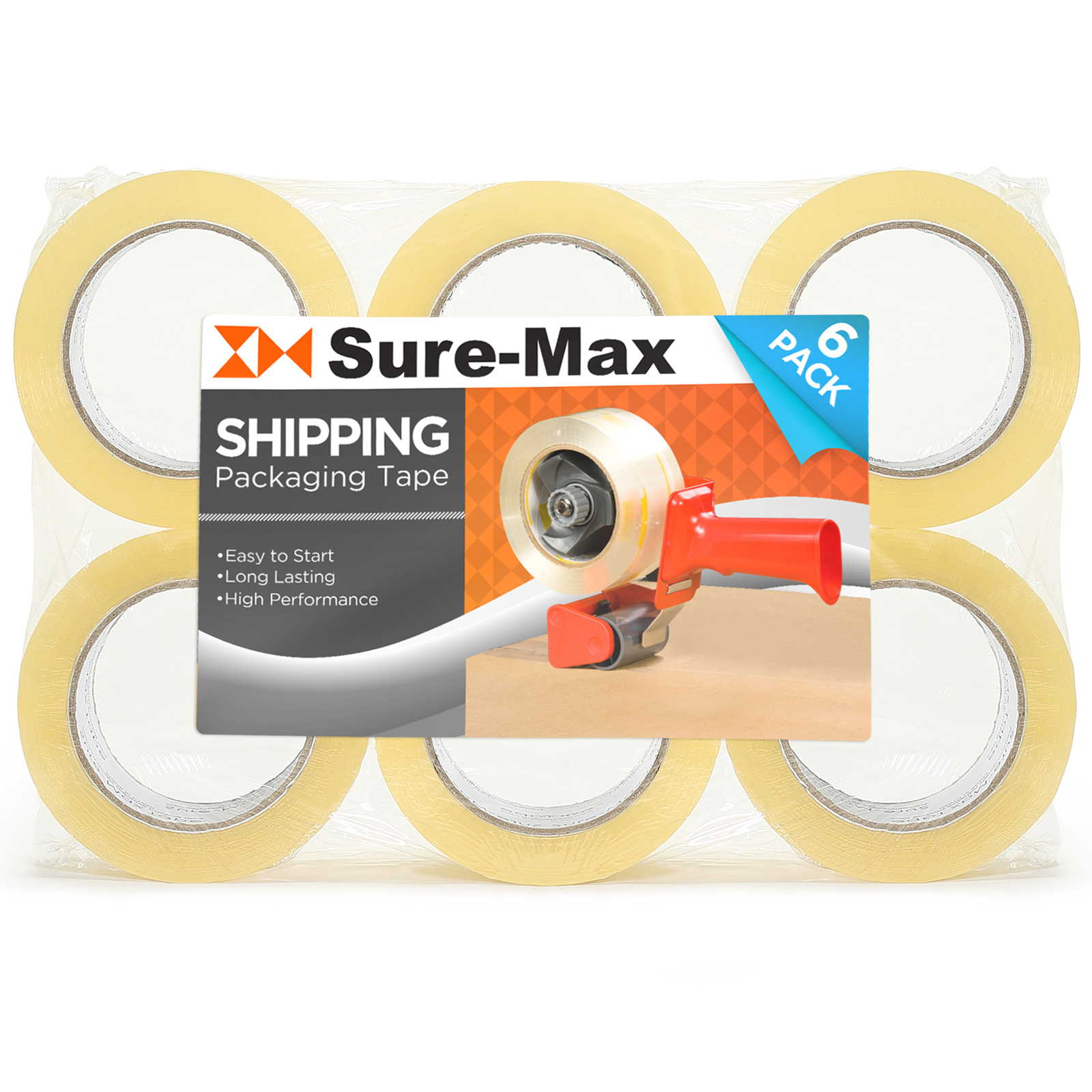 Sure-Max Premium Carton Packing Tape 2.0 mil 330 Feet (110 yards) - Clear - 4 Cases