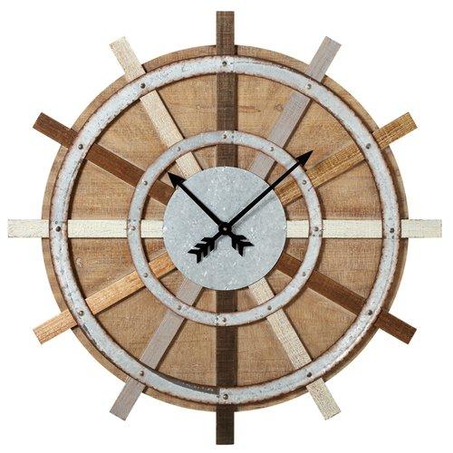 Gracie Oaks Oversized Elsworth Wagon Wheel 38.88'' Wall Clock