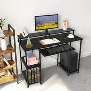 BEFOKA Computer Desk with Storage Shelves, Extra Large Industrial Corner Desk Computer Table Studying Writing Desk Workstation,Black
