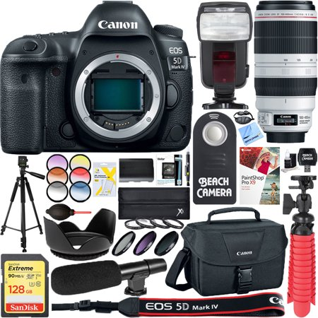 Canon EOS 5D Mark IV 30.4 MP Digital SLR Camera with EF 100-400mm IS II USM Lens + 128GB SDXC Memory Card & Microphone Deluxe Filter