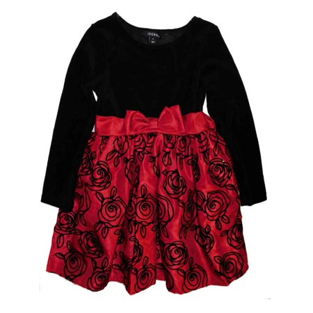 George Girls Red & Black Velour Sparkly Flower Holiday Party Dress