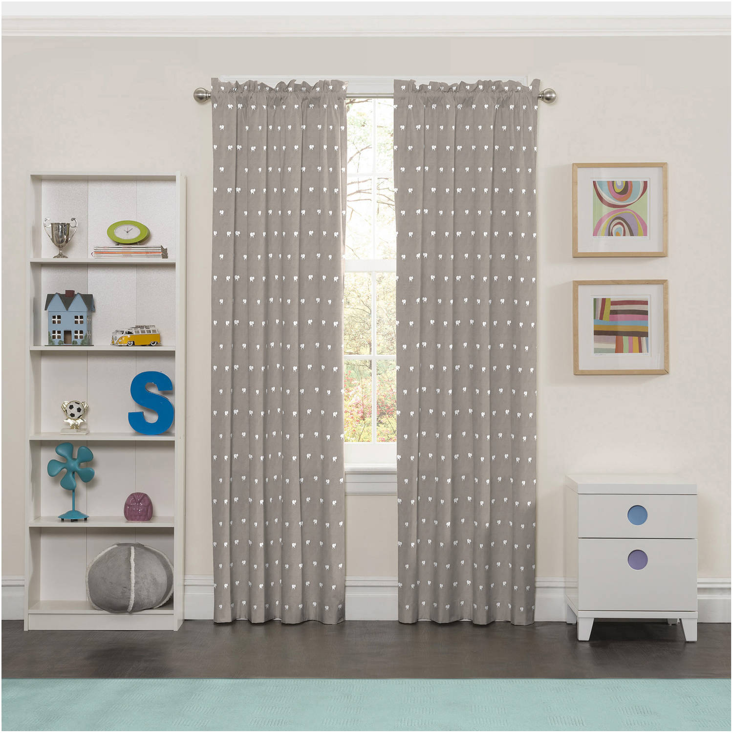 Eclipse elephant print kids bedroom blackout curtain panel - Childrens bedroom blackout curtains ...