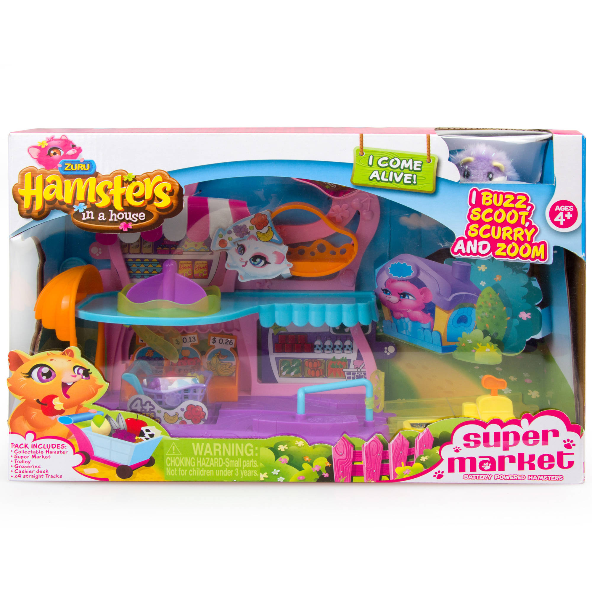 Hamsters In A House Supermarket Set, Periwinkle