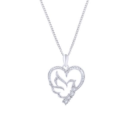 White Natural Diamond Heart with Dove Pendant Necklace in 14k White Gold Over Sterling Silver