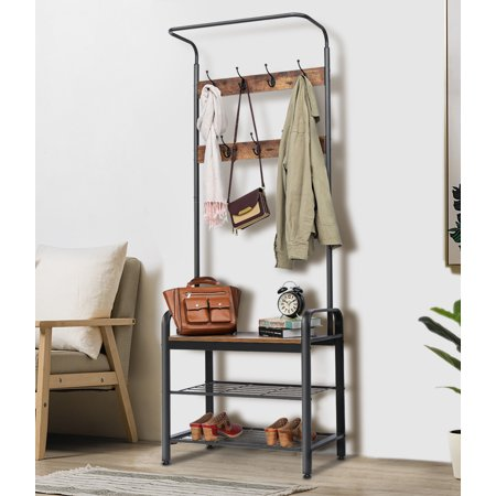 Coat Shoe Rack, KingSo Hall Tree Entryway Coat Shoe Rack 3-Tier Shoes Rack Shelves 7 Hooks, Wood Look Accent Furniture with Stable Metal Frame Easy Assembly,72'' X28