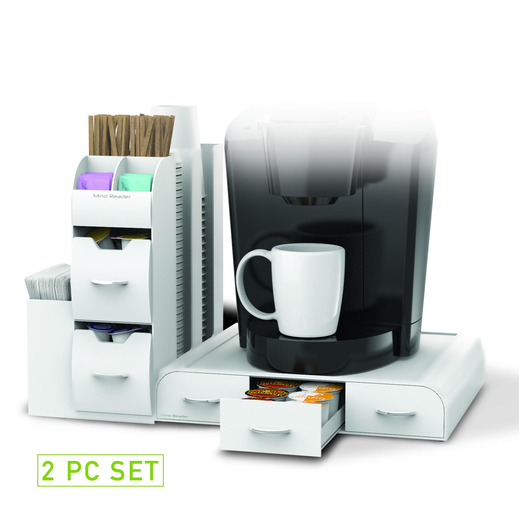Mind Reader 'Combine' 2-Piece K-Cup Single Serve Coffee Pod Storage Drawer and Condiment Storage Organizer Station, White