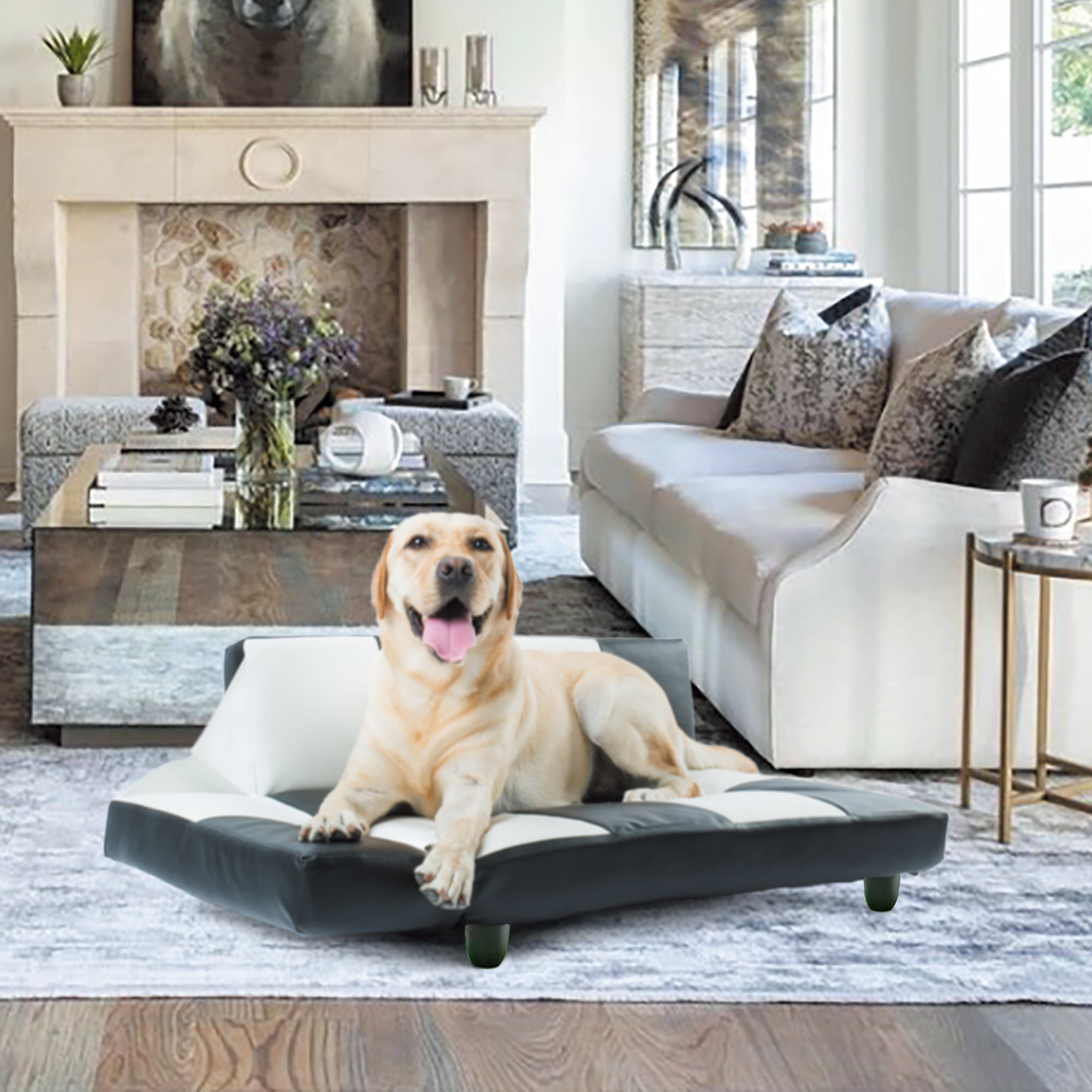 Indoor Pet Dog Sofa Bed Sturdy Chaise Style Large Dog Beds With Soft Pu Leather Cover Orthopedic Ultra Plush Sofa Style Couch Pet Bed For Large Dogs Cats Elderly Dogs Or Puppies 220 5lbs S978