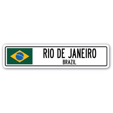 RIO DE JANEIRO, BRAZIL Street Sign Brazilian flag city country road wall