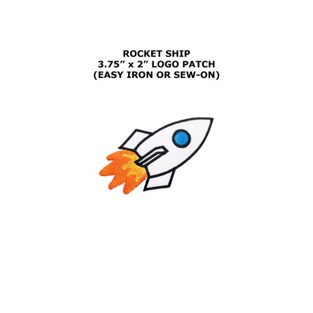 Rocket Ship NASA Vector Embroidered Iron/Sew-on Comics Cartoon Theme Logo (Rocket Applique)