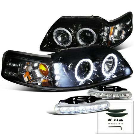 Spec-D Tuning Glossy Black 1999-2004 Ford Mustang Halo Projector Headlight + Led Bumper Fog Lamp (Left + Right) 1999 2000 2001 2002 2003 (Halo Headlights Bumper)
