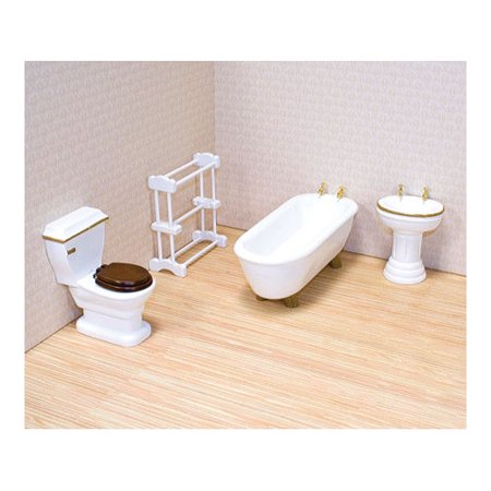 Melissa & Doug Classic Wooden Dollhouse Bathroom Furniture (4 pcs) - Tub, Sink, Toilet, Towel Rack Dollhouse Bathroom Toilet