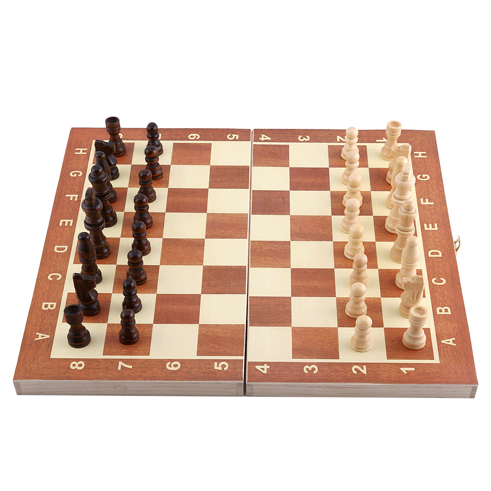 Handcrafted Wood Game Pieces Portable Wooden Chessboard Chess Set Folding Board Chess Game For Party Family Activities