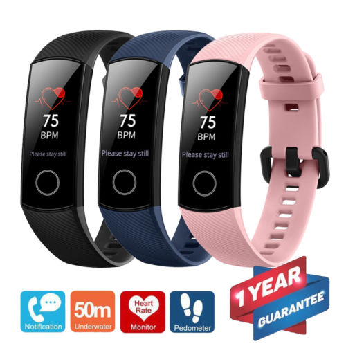 Huawei Honor Band 4 6-Axis Inertial Heart Rate Monitor Infrared 0.95 Full Touch AMOLED Color Screen Home Button All-in-One Activity Tracker 5ATM Waterproof Standard Edition Blue
