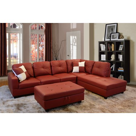 Lupe Right Facing Sectional Sofa with Ottoman,Red ()