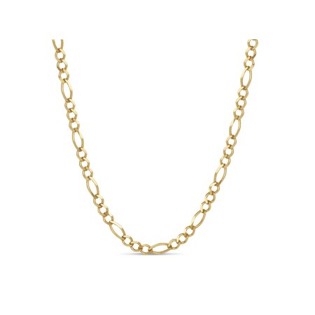 18K Gold Over Sterling Silver Figaro Chain Necklace 30 Inch