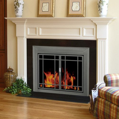Pleasant Hearth Edinburg Prairie Cabinet Fireplace Screen and 9-Pane Smoked Glass Doors - Gunmetal