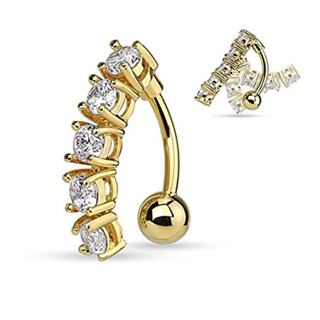Butterfly Cubic Zirconia Belly Ring - 5 CZ Vertical Drop Reverse Belly Button Ring Surgical Steel 14g Top Down Navel Ring (Yellow Gold Tone)