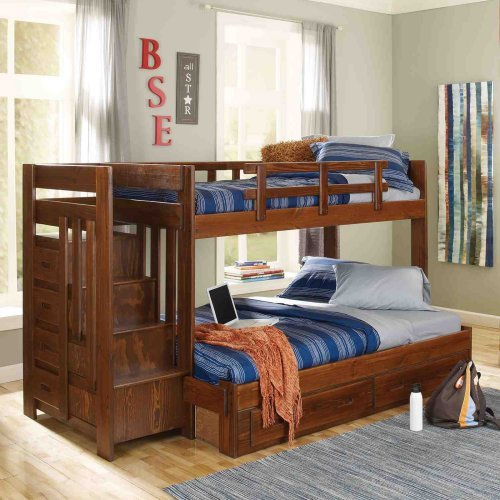 Heartland Twin Over Full Bunk Bed With Stairs Chocolate