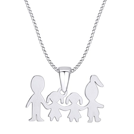 Mother's Day Jewelry Gifts Mom and Dad Love Two Daughter Pendant Necklace In 14k White Gold Over Sterling