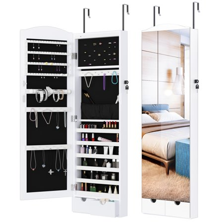 LANGRIA Jewelry Mirror Armoire Stand, Mirrored Hanging Jewelry Cabinet Organizer with Frameless Mirror and 10 LED Lights, Large Storage Capacity Full-Length Mirror and 2 Drawers, White ()