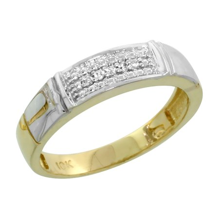 10k Yellow Gold Ladies Diamond Wedding Band Ring Women 0.03 cttw Brilliant Cut 4.5mm wide Size 6.5