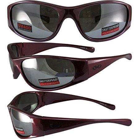 Global Vision SuperStar Motorcycle Sunglasses Metallic Red Frame Flash Mirror - Metallic Red Lens