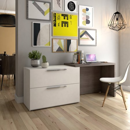 Bestar Small Space Sliding Computer Desk in Bark Gray and White