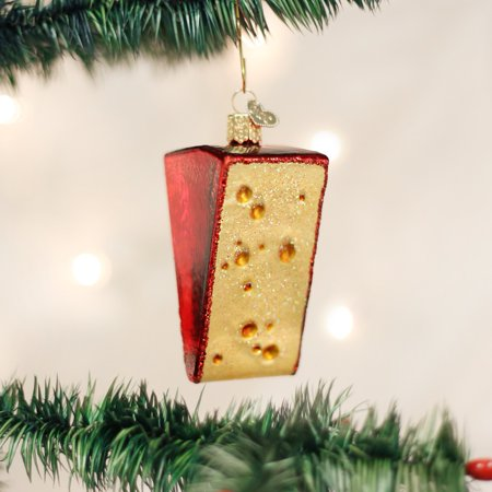 Old World Christmas Cheese Wedge Food Glass Tree Ornament 32220 FREE BOX New