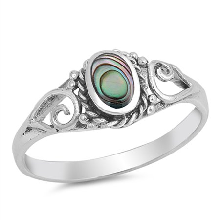 Abalone Pearl Ring - Sterling Silver Stunning Women's Simulated Abalone Oval Ring (Sizes 5-10) (Ring Size 5)