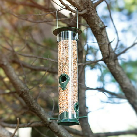 Classic Tube Hanging Bird Feeders for Bird Seed and More, Weatherproof, Premium Hard Plastic with Metal Hanger (2 Pack) Bird Feeder Weather Dome
