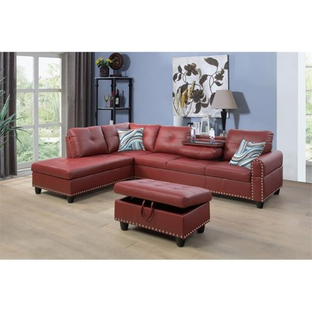 Schwindt Faux Leather Sectional Sofa with Ottoman in Red