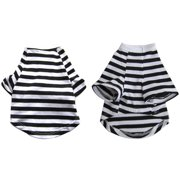 Iconic Pet Pretty Pet Black and White Striped Top, X Large