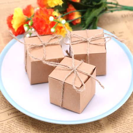 50PCS Kraft Paper Cube Favor Box Kit Candy Treat Rustic Gift Boxes Set with Twine for Wedding Favors Baby Shower Birthday Party Supplies