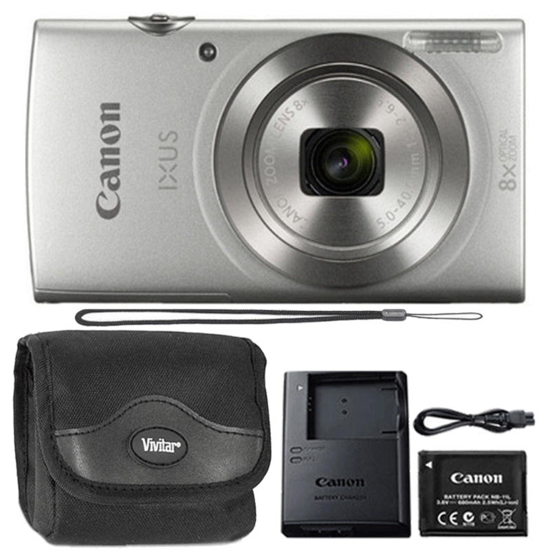 Canon Ixus 185 / Elph 180 20MP Digital Camera Silver with Camera Case