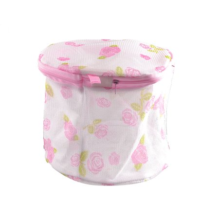 Flower Print Zipper - Unique Bargains Zipper Closure Flower Print White Foldable Underwear Lingerie Wash Washing Bag