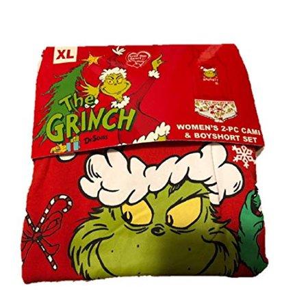 Cami Boyshort (Dr Suess The Grinch Women's 2pc Cami & Boyshort Set Pajamas (Small) Red )