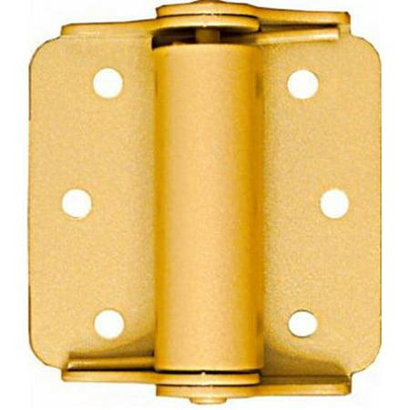 - N114-785 3 in. Baked Enamel Brass Surface Spring Hinge, 2 Pack