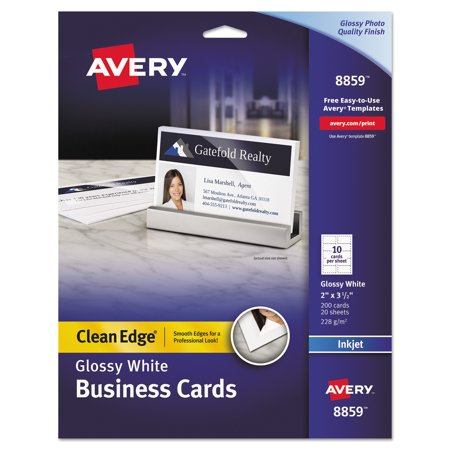 Avery clean edge business cards inkjet 2 x 3 12 glossy white avery clean edge business cards inkjet 2 x 3 12 glossy reheart Gallery