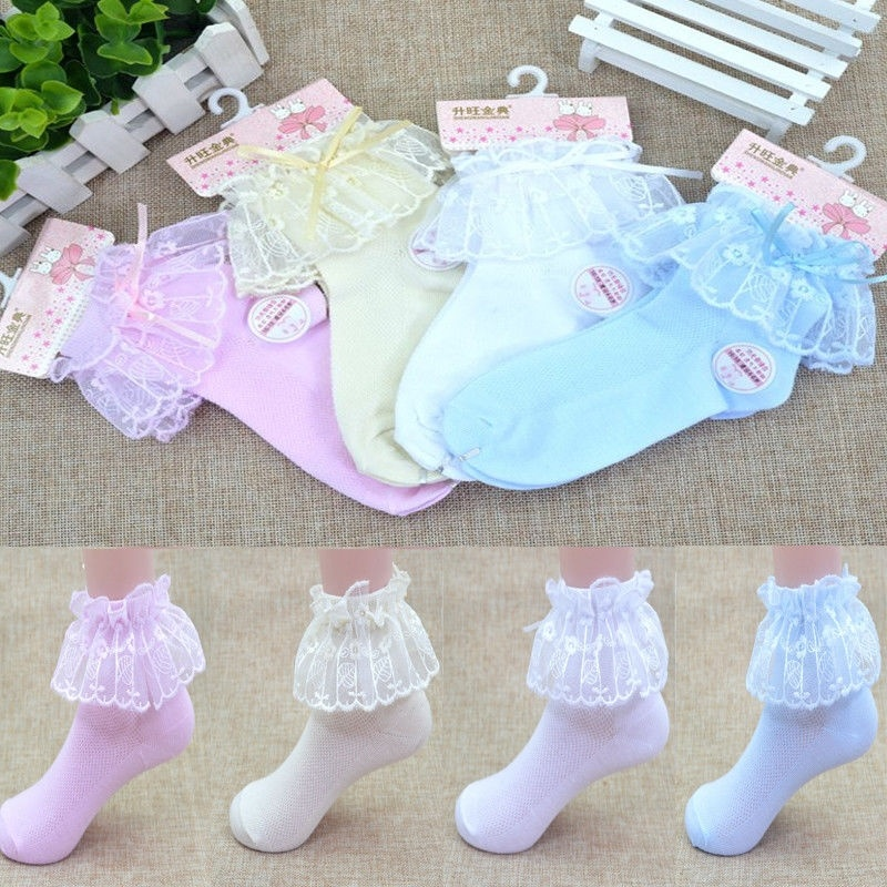 White Girls Lace Frilly Socks Pink Blue LOL Ribbon Trim with Bows Size 9-12
