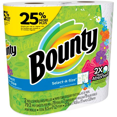 Bounty Select A Size Paper Towels  Print  2 Large Rolls   25  More Sheets