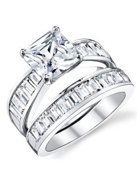 Women's 2.50Ct Princess Cut Sterling Silver .925 Engagement Ring Set Wedding Cubic Zirconia